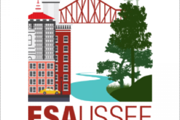 "Ecological Society of America 2019 meeting logo, a drawn city with ""ESA USSEE Louisville 2019"""