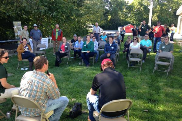 A discussion at the 2018 American Fisheries Society picnic