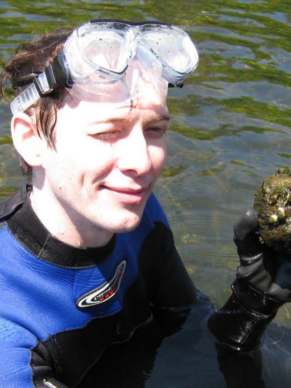 Sampling zebra mussels during my Masters project