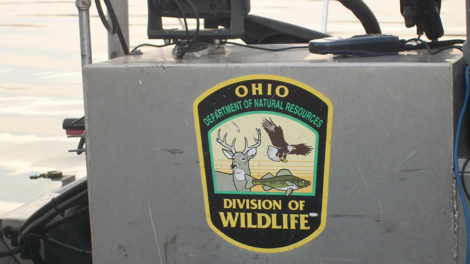 Ohio Division of Wildlife Logo on boat